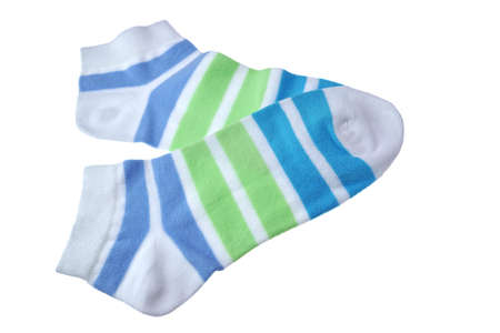 girlish: Pair Green And Blue Striped Ladies or Girlish Socks Isolated On White Background