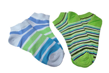 girlish: Two Pairs of Different Sport Striped Ladies or Girlish Socks Isolated On White Background