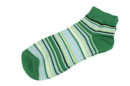 girlish: Pair Green  And Magic Mint Striped Ladies or Girlish Socks Isolated On White Background