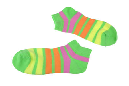 girlish: Pair Green, Orange, Yellow and Violet  Striped Ladies or Girlish Socks Isolated On White Background
