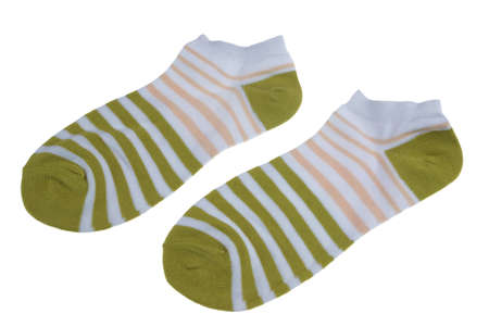 girlish: Pair Olive And Rose Striped Ladies or Girlish Socks Isolated On White Background