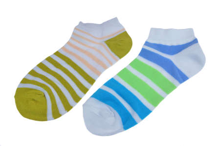 girlish: Pair  of Different Sport Striped Ladies or Girlish Socks Isolated On White Background