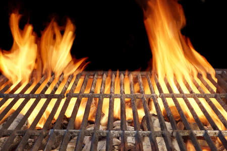 grill: Flame Fire Empty Barbecue Grill Background Copy Space
