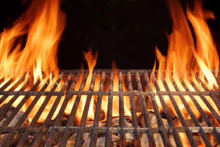 bbq picnic: Flame Fire Empty Hot Barbecue Charcoal Grill With Glowing Coals On Black Background Stock Photo