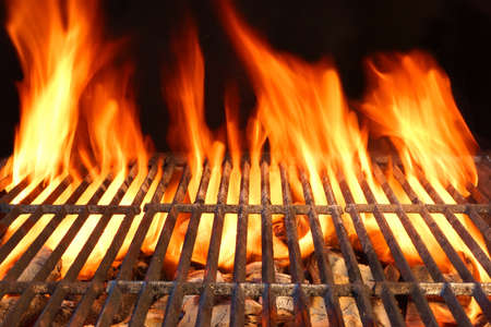 flames: Flame Fire Empty Hot Barbecue Charcoal Grill With Glowing Coals On Black Background Stock Photo