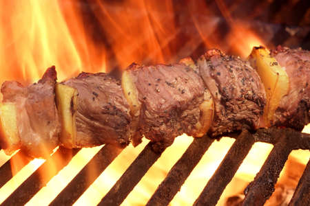 kabob: Marinated BBQ Meat Or Beef Kebab Kabob On Hot Grill. Flames of Fire on The Background. Summer Party or Picnic Food.