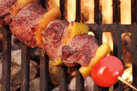 barbequing: Weekend BBQ Meat Beef  Kebab Or Kabob On The Hot Flaming Grill. Flames of Fire on The Background. Summer Party or Picnic Food.