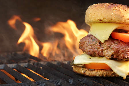 chicken burger: Homemade BBQ Beef Burger On The Hot Flaming Grill. Good Snack For Outdoors Summer Party Or Picnic