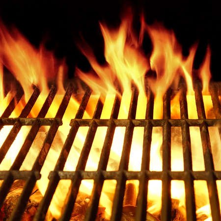 briquettes: Empty Barbecue Clean Hot Flaming  Grill Close-up Background Isolated