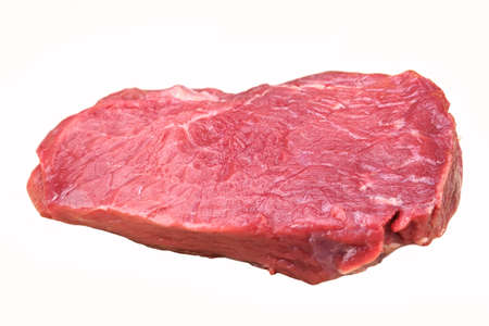 Single Raw Beef Steak For Grill Isolated On White Background,