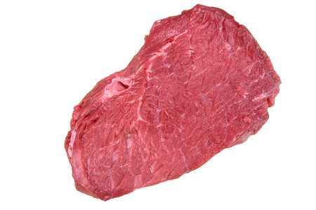 steak beef: Single Raw Beef Steak For BBQ Isolated On White Background, Top View