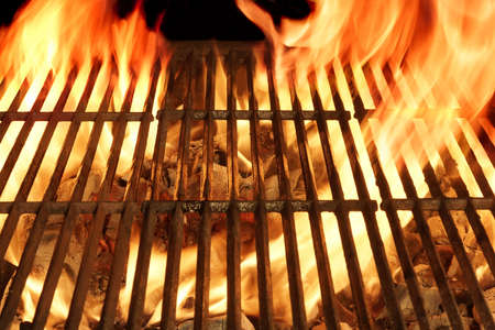 flame: Empty Barbecue Clean Hot Flaming  Grill Close-up Background Isolated