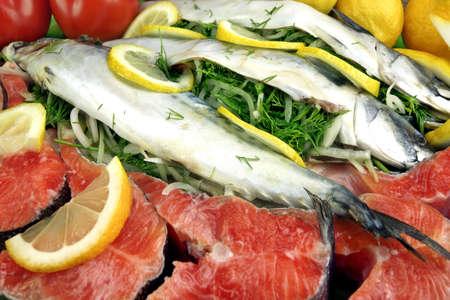 stuffed fish: Dish With Fresh  Stuffed Fish Salmon Steaks,  Lemon Slice And Herbs