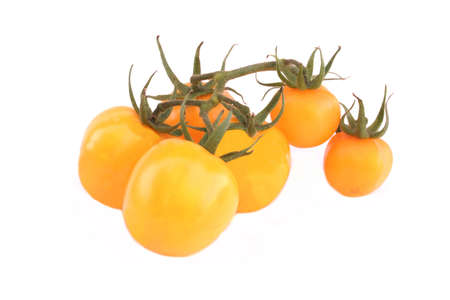 homegrown: Homegrown Ripe Organic Yellow Tomato On Vine Isolated