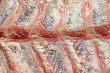 Raw Fresh Pork Baby Back Ribs  Close-Up Background photo