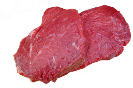 beefsteaks: Two Fresh Organic Diet Beefsteaks Isolated On The White Background Stock Photo