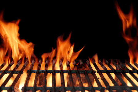 roasted chicken: Empty Hot Charcoal Barbecue Grill With Bright Flame On The Black Background