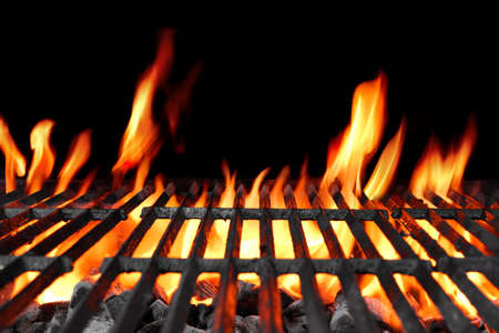 grill chicken: Empty Hot Charcoal Barbecue Grill With Bright Flame On The Black Background
