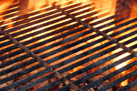 grill food: BBQ Flaming Grill And Glowing Coals Close-up Background Texture