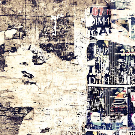 Old Weathered Wood Billboard with Torn Posters. Vintage Background and Texture for text or image 스톡 콘텐츠