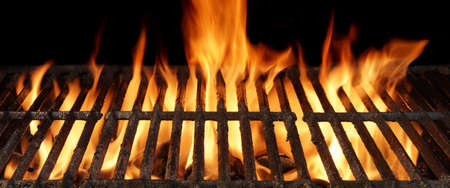 gas flame: Empty Barbecue Charcoal Cast Iron Grill Close-up With Bright Flames Isolated On Black Background.