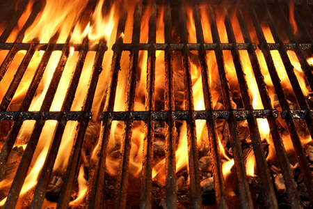 Flaming Empty BBQ Charcoal Grill Background Texture