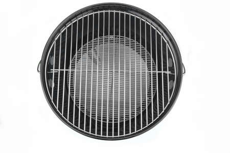 bbq grill: Empty New Clean BBQ Kettle Grill  Isolated On White Background Overhead View