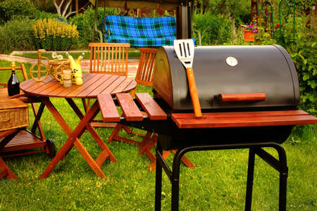 garden furniture: Outdoor Summer Weekend BBQ Grill Party Or Family Lunch Or Cookot Food Or Picnic Concept
