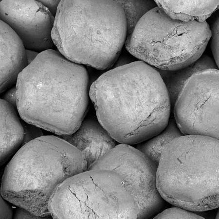 briquettes: Charcoal Briquettes For BBQ Grill Background Texture Close-up Overhead View