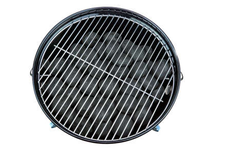 briquettes: Empty New Clean BBQ Kettle Grill With Charcoal Briquettes In The Pit Isolated On White Background Overhead View