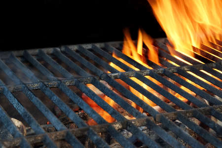 bbq grill: Close-up Of Flaming BBQ Charcoal Grill Isolated On Black Background