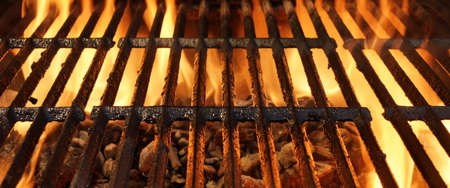 cook out: Close-up Of Hot BBQ Flaming Grill With Bright Flames And Glowing Coals