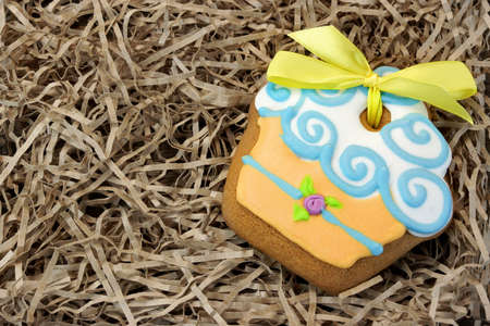 nestled: Nestled Glazed Handmade Gingerbread With Sweet Decoration Closeup, Ghristmas Gift Concept Stock Photo