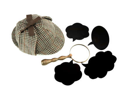 holmes: Investigation Concept With  Sherlock Holmes Hat Famous As  Deerstalker Isolated On White Background