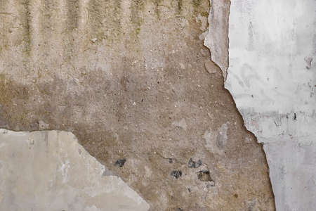 wall covering: Old Grey Concrete Wall With Damaged White Paint Covering, Abstract Background Texture