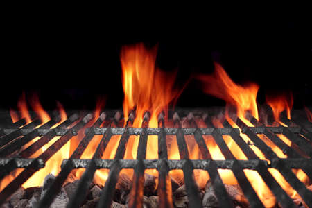 flames: Hot Barbecue Charcoal Grill With Bright Flames Isolated On Black Background