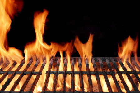 cook out: Flaming Empty BBQ Grill Close-up With Flames On The Black Background