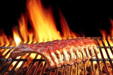 Bebê de volta ou carne de porco costeletas churrasco assado na grelha de carvão quente em chamas Foto de archivo - 46263553