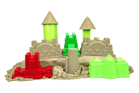 kinetic: Kinetic Sand With Child Toys For Indoor Children Creativity Games Or Beach Games Concept Isolated On White Background