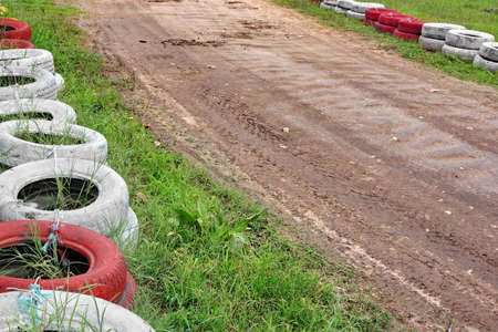 off track: Empty Off Road Buggy Or Karting Track Fragment