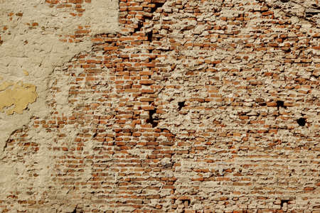 prodigious: Huge White Red Brick Mortar Wall With Damaged Plaster Background Texture