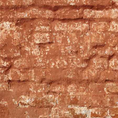 dingy: Old Shabby Brick Wall With Dingy Red Paint In The Warm Shades Frame Square Rectangle Background Texture