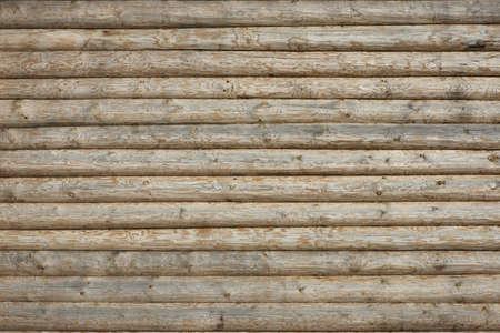 木製の丸太小屋の壁自然色水平背景テクスチャの詳細を閉じる