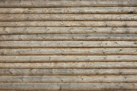 Wooden Log Cabin Wall Natural Colored Horizontal Background Texture Detail Close Up