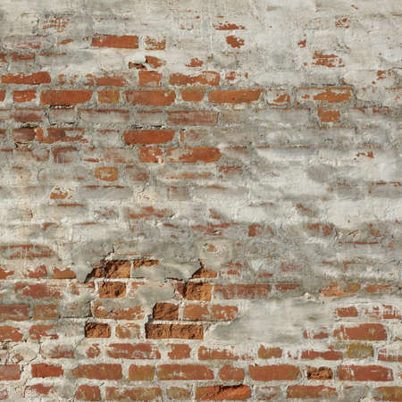 patchy: Old Red Brick Wall With White  Plaster Frame Background Texture Closeup Stock Photo