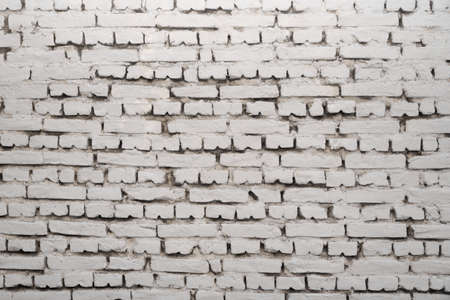 building wall: Blank White Grunge Old Brick Wall Horizontal Background Texture Closeup