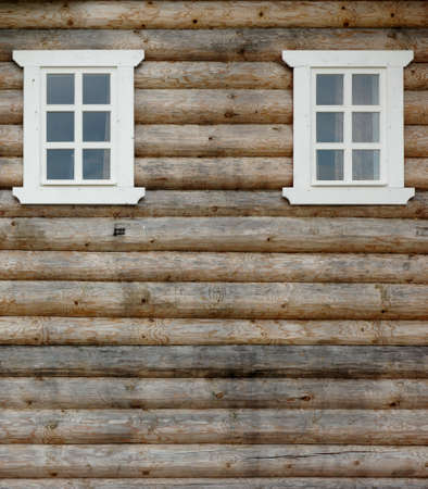 unpainted: Unpainted Log Cabin Wall With To Ornamental Windows,  Wooden Architecture Background