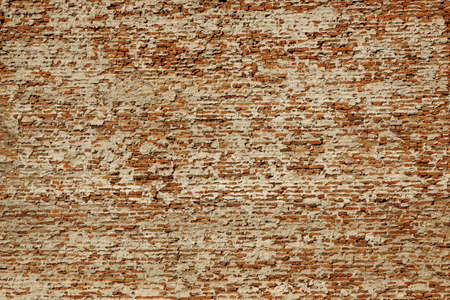 devastating: Huge White Red Brick Mortar Wall With Damaged Plaster Background Texture