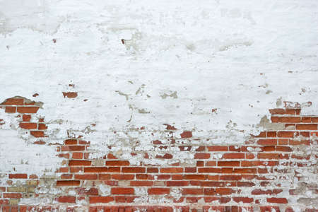 mortar: Pared de ladrillo roja vieja vinyage Con Salpicada yeso blanco Textura de fondo Foto de archivo