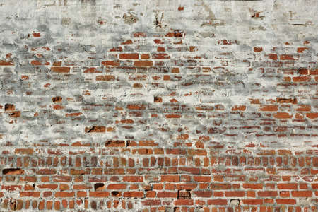 Red White Vintage Brick Painted Wall With Damaged Plaster Background Texture